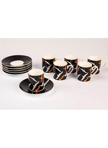 Mikasa Moor Orange Storks 6 Kişilik Kahve Fincan Seti Siyah